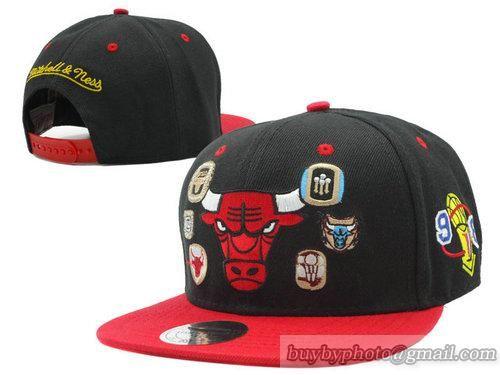 NBA Chicago Bulls Snapback Hats Adjustable Caps M&N Black Red 791