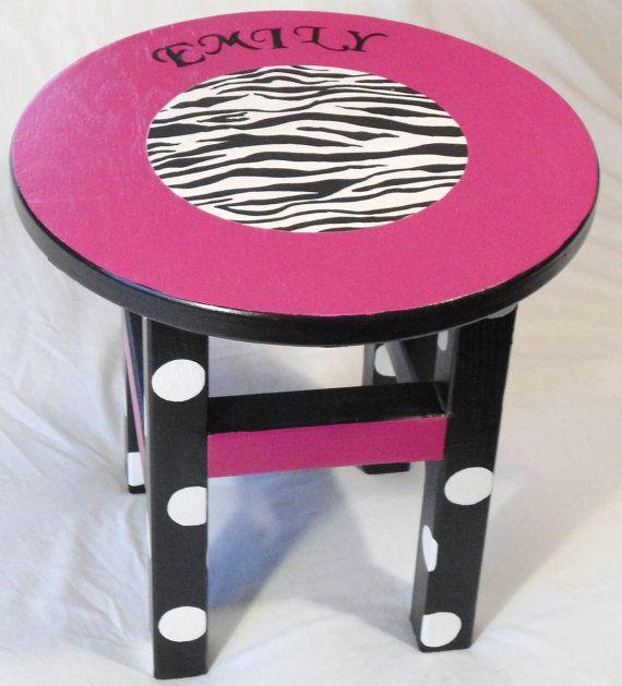 Stool hot pink and zebra print