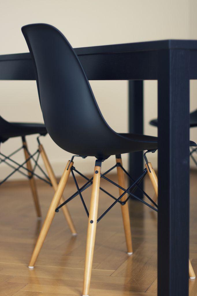 Black Eames + dowel base.