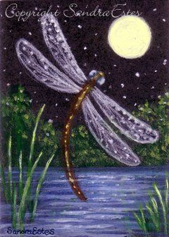 Paintings by Sandra Estes: My Reflections of Grace: Original ACEO Painting Dragonfly Dream Night Pond Moon