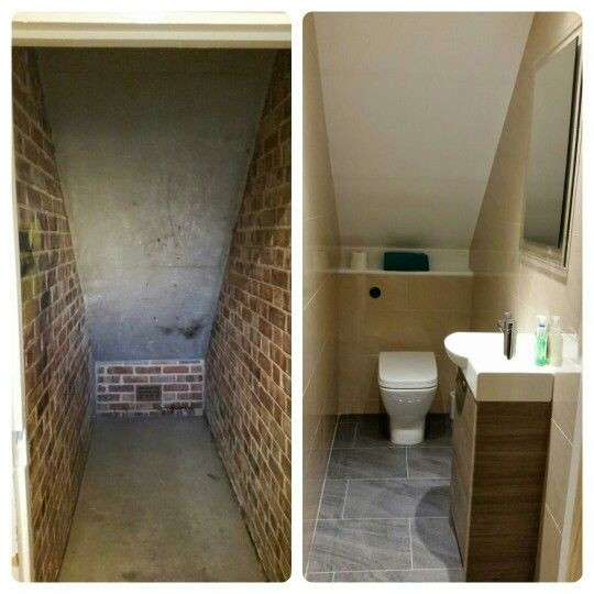 Beautiful under stairs toilet - before & after done by @aquanero www.aquanero.co.uk