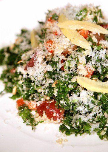 Recipe for the most amazing salad on theplant. Kale and quinoa salad from La Grande Orange Cafe Phoenix