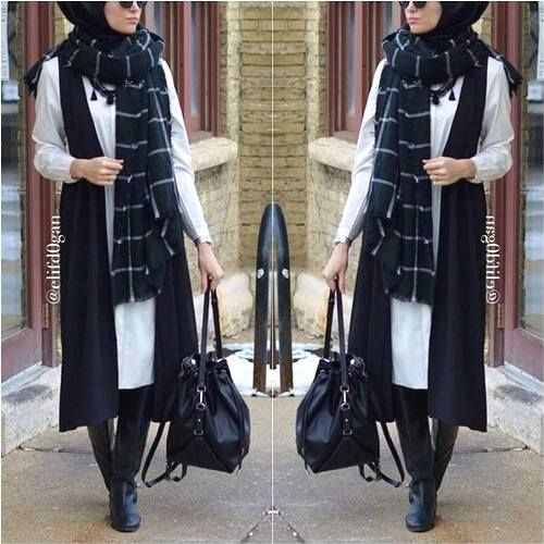 long-black-vest-scarf-hijab-style- Winter hijab fashion outfits http://www.justtrendygirls.com/winter-hijab-fashion-outfits/