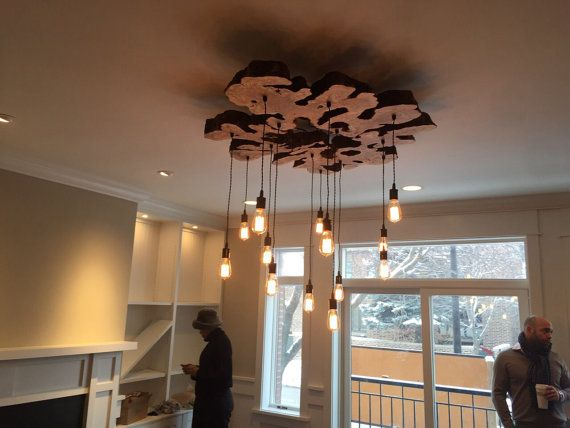 Custom to order Live Edge Wood Slab Light Fixture by 7MWoodworking