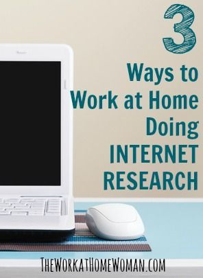 Internet Research is a great way for you to work from home! In fact, there are lots of companies who hire freelancers to do their research for them — you just need to know where to look. via  The Work at Home Woman WAHM Ideas #WAHM #workathome #workathomemom