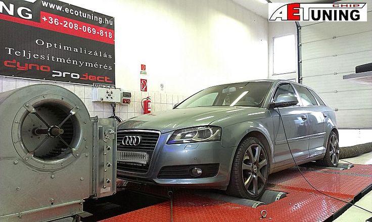 Audi A3 2.0TFSI DSG 200LE Chiptuning   Gyári adatok: 200LE/280NM 4x4 DYNO Fékpadon mért adatok: 209LE/274NM AET Chiptuning: 245LE/390NM  http://ecotuning.hu/audi-a3-2-0tfsi-dsg-200le-chiptuning/ #aetchip #aet #aetchiptuning #chiptuningtat #dyno #dynoproject #performance #autochip #tuning #optimalizalas #quattro #dsg