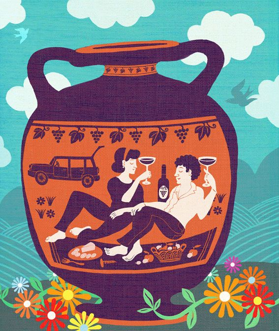 wine culture, editorial illustration assignment for live happy magazine, USA, by marco marella