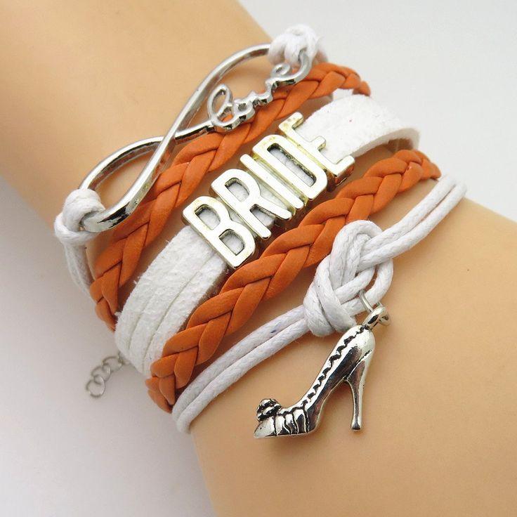 Infinity Love Orange White Wedding Party Bracelets