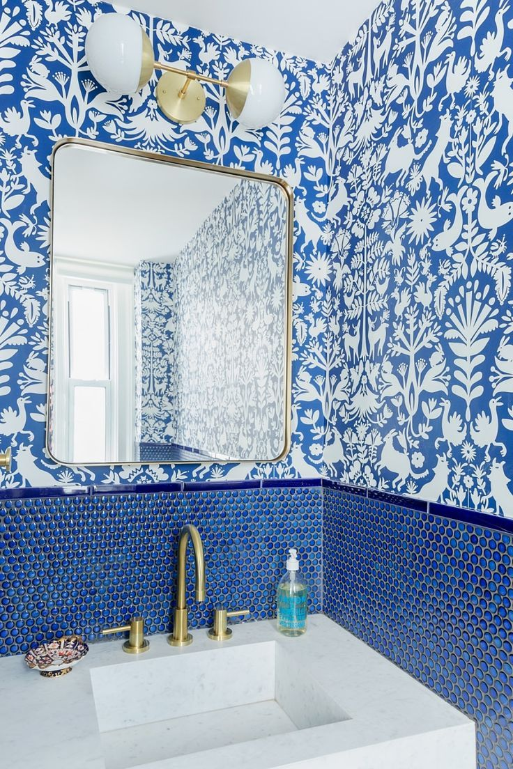 The 27 Best Bathroom Colors For Every Style And Space Blue Bathroom Tile Powder Room Wallpaper Amazing Bathrooms