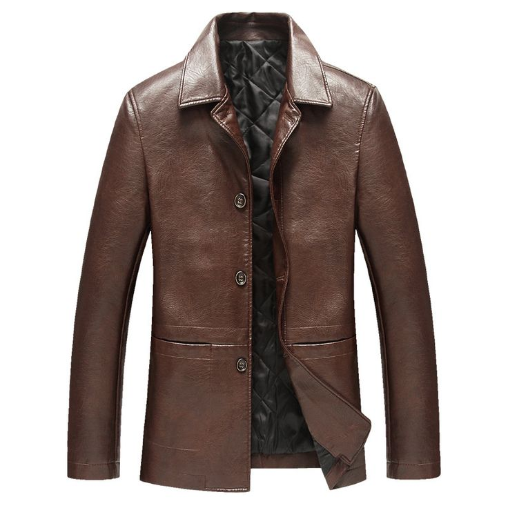 SHOWERSMILE Brand Mens Brown Leather Jacket And Coats Winter Warm Clothing Artificial Leather Factory Direct Menswear Design