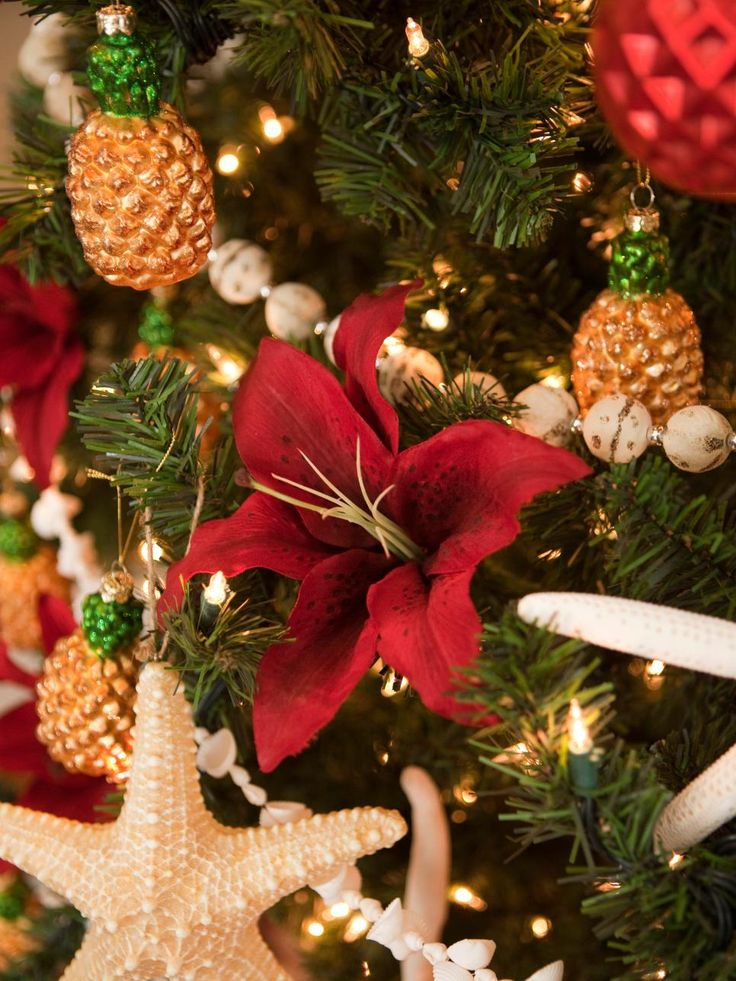 This coastal Christmas tree is beautifully adorned with starfish, pineapples and bright-red tropical flowers. Get more coastal and cottage-style Christmas decorating ideas here >> http://www.diynetwork.com/how-to/make-and-decorate/entertaining/coastal-and-cottage-style-christmas-decorations-pictures?soc=pinterest