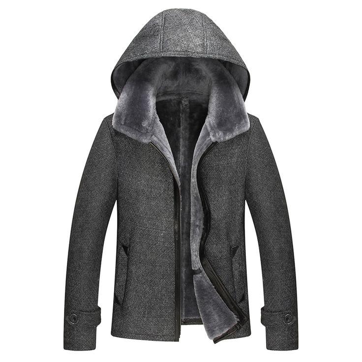 Mens Fur Coat Men's Shearling Coat Hooded Genuine Leather Mens Jacket Fur Parka Mens Leather Jackets