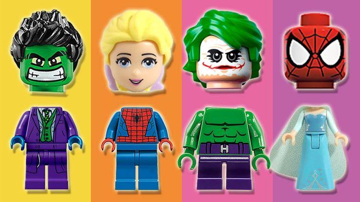 Wrong Heads LEGO Frozen Elsa Spiderman Hulk Joker Finger Family Nursery ...