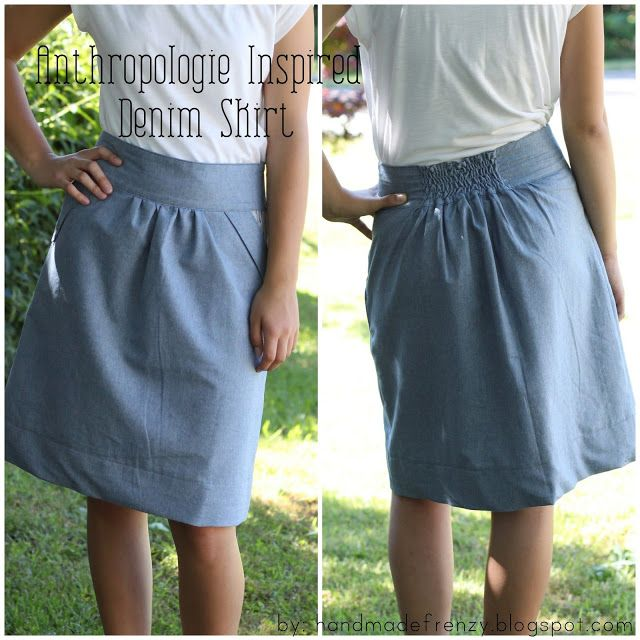 Handmade Frenzy: Anthropologie Inspired Denim Skirt