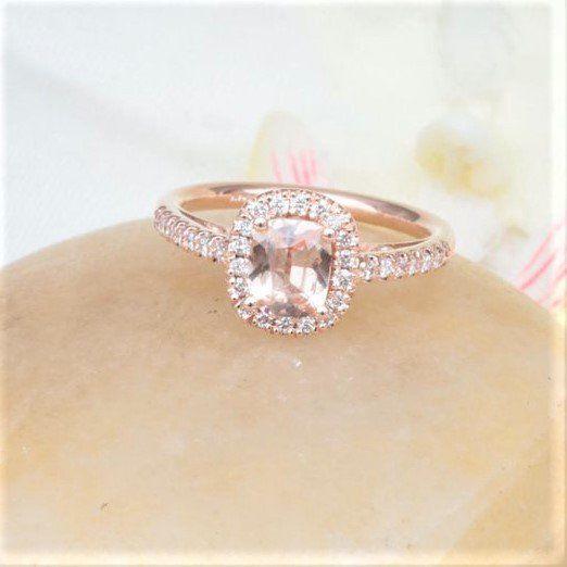 Cushion Peach Champagne Sapphire 14k Rose Gold Diamond Halo Engagement Ring #Canada #Champagne_sapphire #Cushion_peach