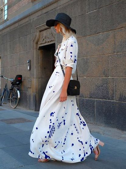 White Splash Print Shirt Collar Maxi Dress | Choies
