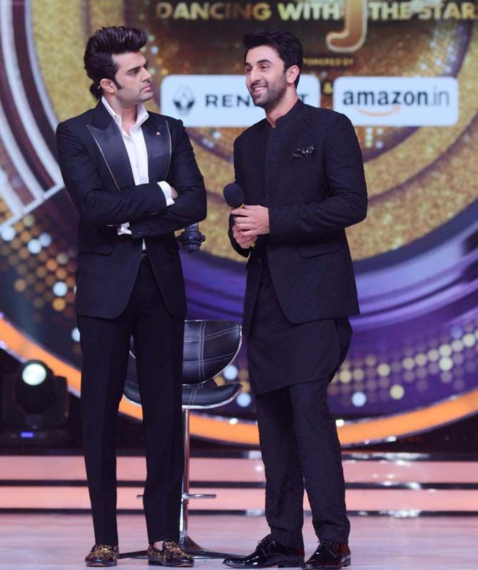 Manish Paul and Ranbir Kapoor on the sets of 'Jhalak Dikhhla Jaa. #Bollywood #Fashion #Style #Handsome #Formals