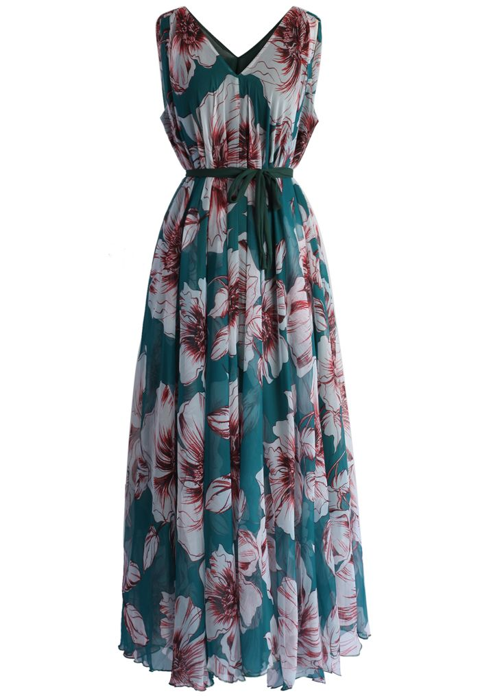 Marvelous Floral Chiffon Maxi Dress in Turquoise - New Arrivals - Retro, Indie and Unique Fashion