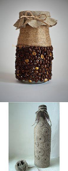 Декорирование бутылок своими руками, акриловой краской, кофейными и ореховыми зернами, бумагой. шпагатом, манной крупой | Все о дизайне и ремонте дома