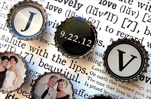 Bottle Cap magnets for favors. Cute idea!