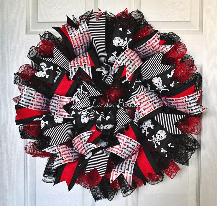 Red & Black Buccaneers Deco Mesh Wreath - Black and Red Skull wreath - Gasparilla Bucs door decor - Pirate wreath by MrsLanderBoutique on Etsy