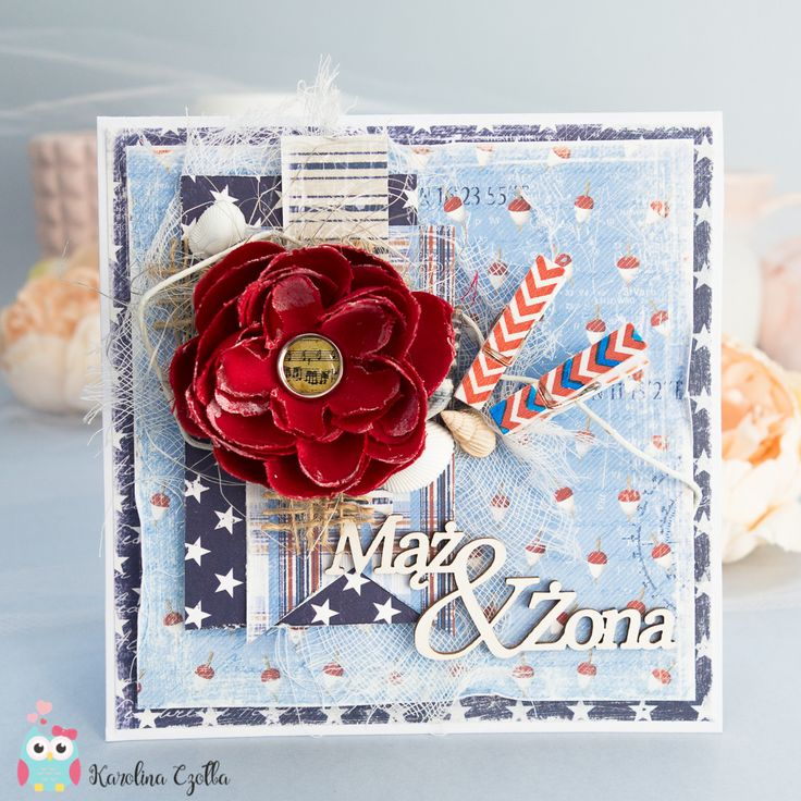 Multilayered wedding card made from Maja Design papers with a big fabric flower.