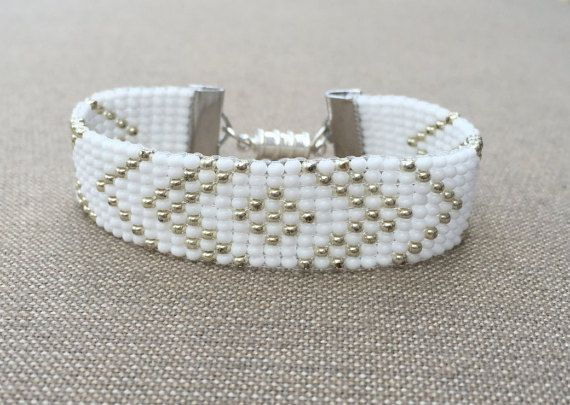 Silver and White Bead Loom Bracelet on Etsy