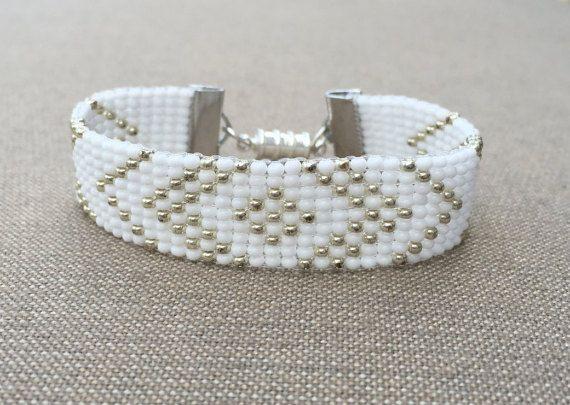 Silver and White Bead Loom Bracelet by HoneyLemon27 on Etsy                                                                                                                                                                                 More