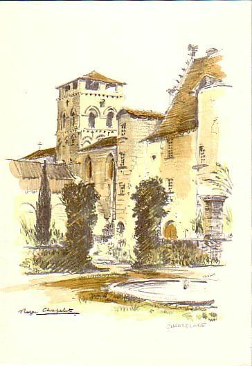 Carte aquarelle en p rigord abbaye de chancelade par for Artiste peintre dordogne