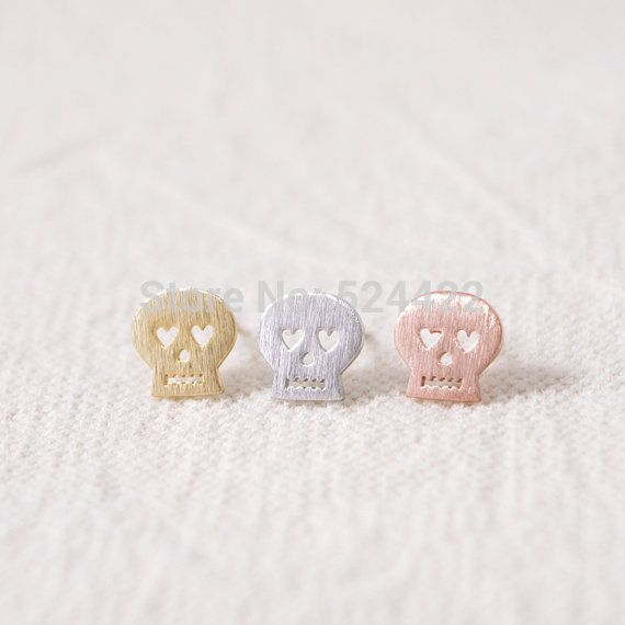 Fashion Silver/gold/pink skull stud earrings ED002