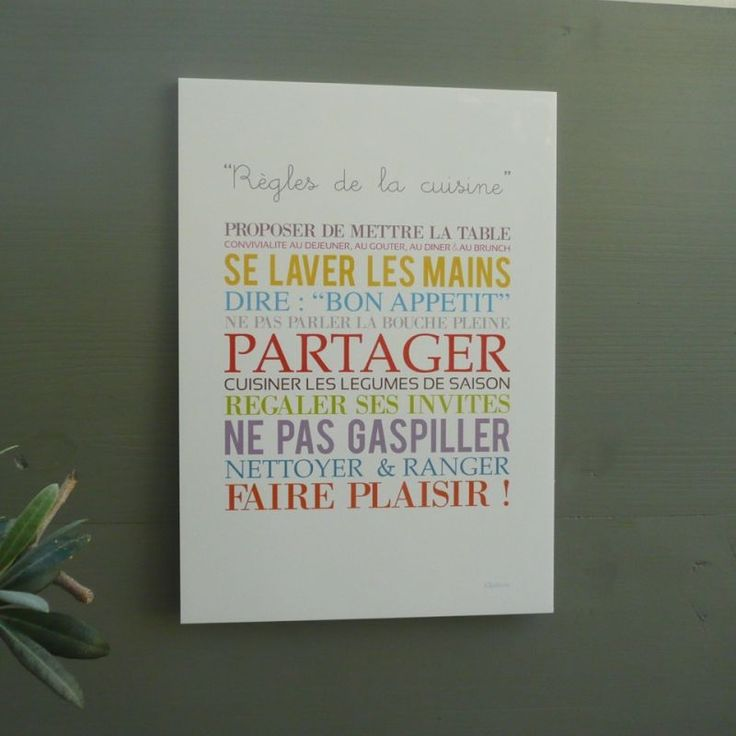 """Affiche """"Règles de la cuisine"""""""