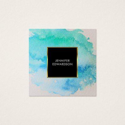 Modern blue green teal watercolor splatter splash square business card - gold wedding gifts customize marriage diy unique golden