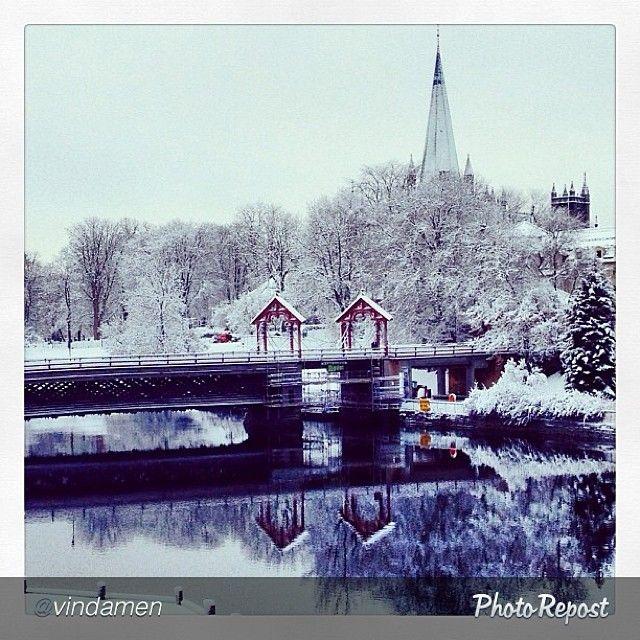 #Trondheim draped in snow. Photo: @vindamen #travel #norway #nidaroscathedral