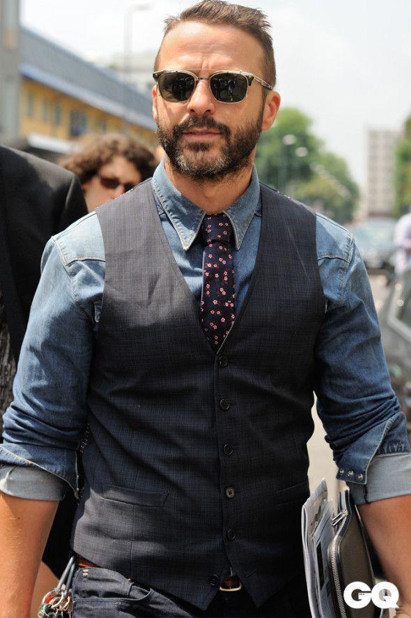デニムシャツコーデメンズMilano Moda Uomo: lo street style firmato Monsieur Jerome - GQItalia.it