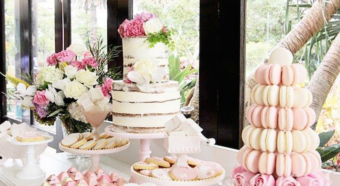 Looking for Baptism party ideas? This Gold + White dessert table is just stunning! Visit Kara's Party Ideas TODAY for this and many other party ideas!