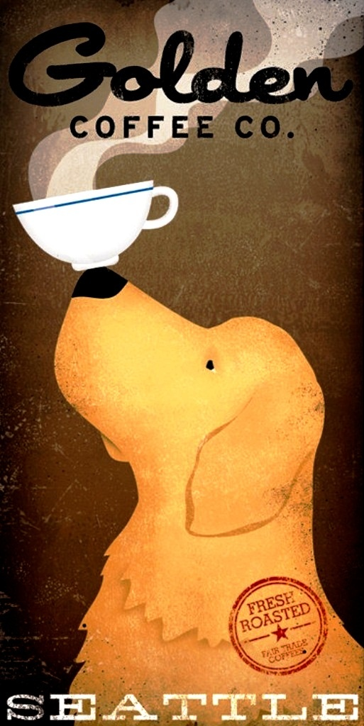 #Golden #Coffee# Dog Coffee art ☕Coffee♥Craft☕ToniK  nativevermont etsy.com