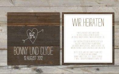 Made With Love ♥ Hochzeitspapeterie » Einladung Herz auf Holz