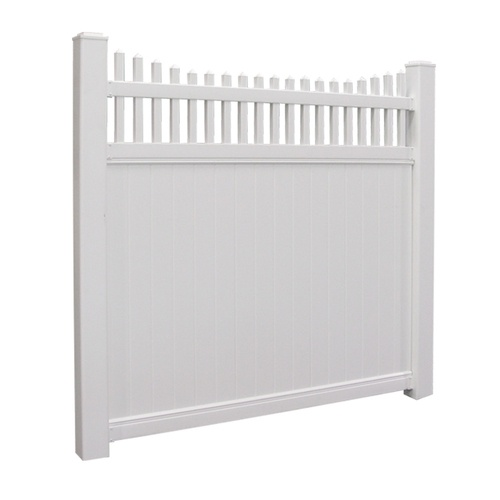 Freedom 6 X 6 White Scalloped Privacy Vinyl Fence Panel
