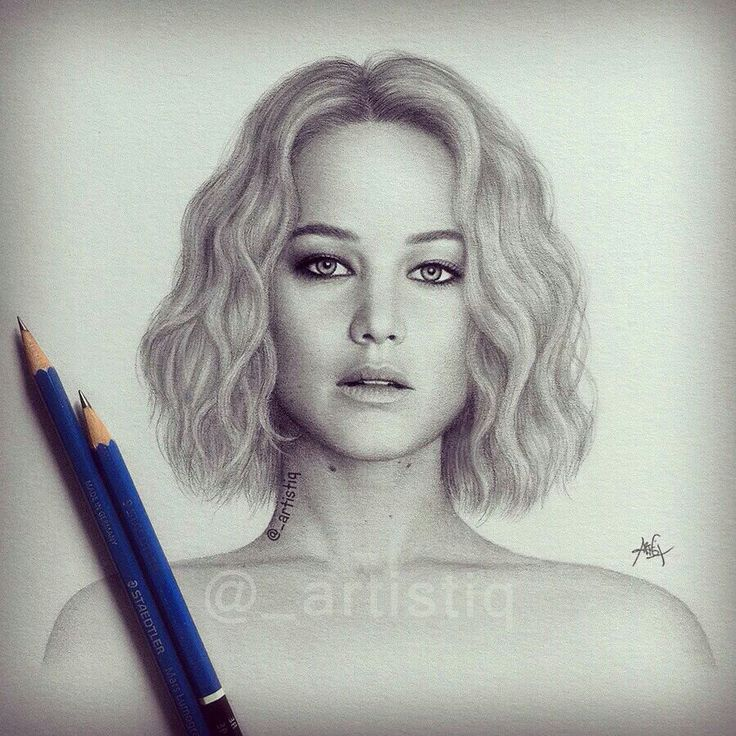 Jennifer lawrence drawn with graphite pencils ❤ whos your favorite actress