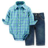 A classic for every little boy's wardrobe, this plaid poplin bodysuit and denim pant set will look crisp for any occasion. Real zip-fly and snap-closure give these jeans a more grown-up look!<br>