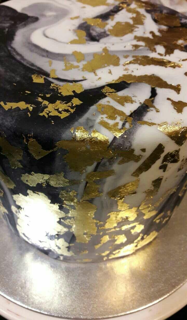 Marble and gold leaf cake Www.facebook.com/Rkdesignsnz