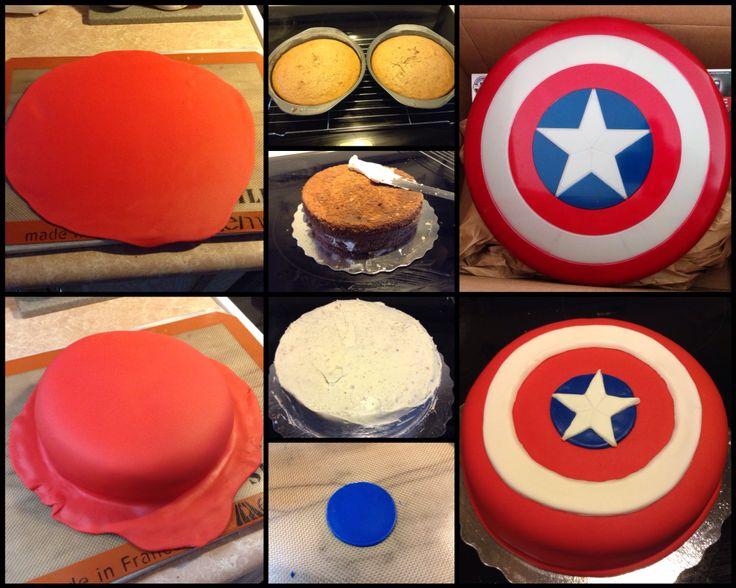 Captain America Shield Cake: Cappuccino Cinnamon Cake, Vanilla Frosting & Vanilla Fondant
