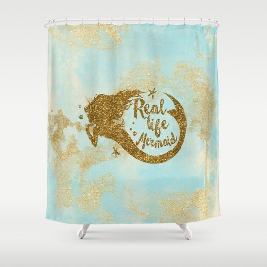Real Life Mermaid   Gold Glitter Lettering On Aqua Glittering Backround Shower  Curtain