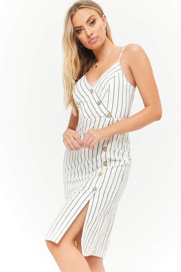0468e6d5e09 Striped Asymmetrical Button-Front Cami Dress  front princess asymmetrical