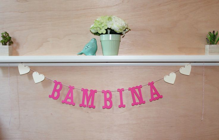 Bambina Baby Banner - Custom Colors - Italian Baby Shower, Nursery Decoration or Photo Prop by JessMadeThis on Etsy https://www.etsy.com/au/listing/233450750/bambina-baby-banner-custom-colors