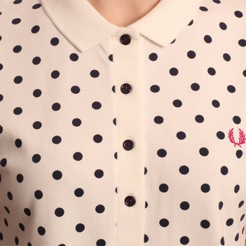 Fred Perry Womens White Polka Dot Polo Shirt