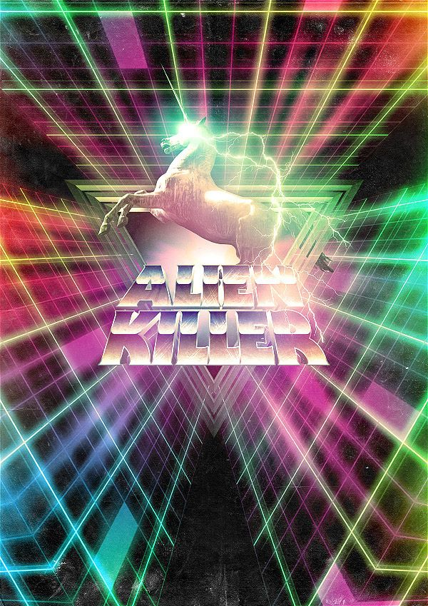Showcase of Vibrant 80s Inspired Neon Artwork Alien Killer by Sakke Soini