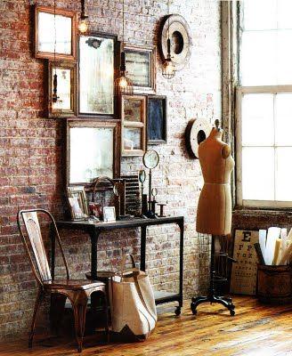 love brick wallsDecor, Ideas, Vintage Mirrors, Exposed Bricks, Frames, Bricks Wall, Brick Walls, Expo Bricks, Mirrors Mirrors