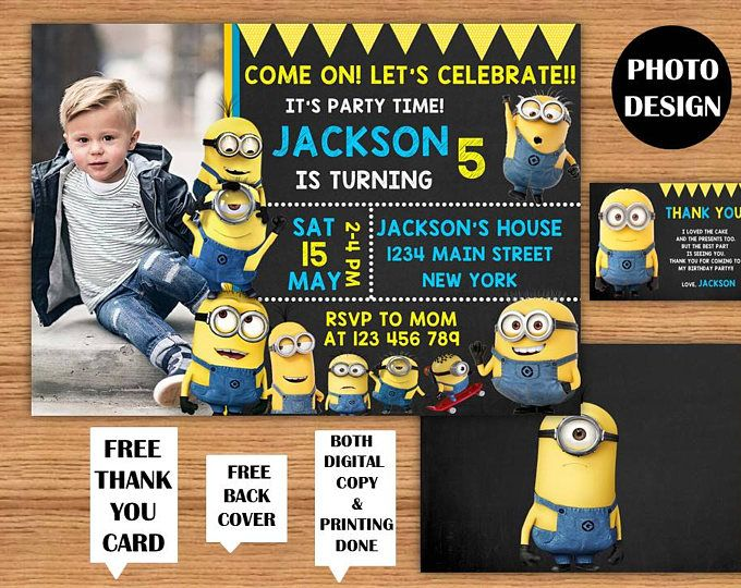Minions Invitation Minions Photo Birthday Invitations Minions Kids Birthday Invitation Minions Printable Party Invite Minions Birthday Card