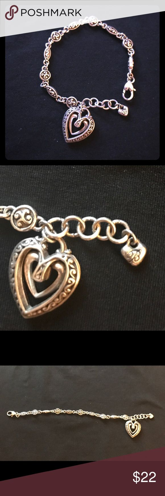 "Silver Brighton Bracelet with Heart Dangle Sweet 8"" silver Brighton Bracelet with heart charm/dangle. Like new condition! Brighton Jewelry Bracelets"